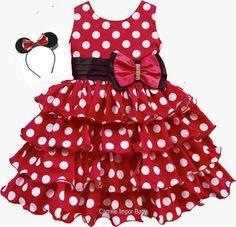 Vestido Minnie Vermelha Festa Luxo Babados Com Tiara