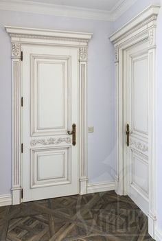 Carved decorative overlays, brackets, capitals and rosettes made of precious wood can help to designers create a complete image of the doors and all interior . Wooden Door Design, Wooden Doors, Double Doors Interior, Interior Doors, Trim Carpentry, Classic Doors, Windows And Doors, The Doors, Moldings And Trim