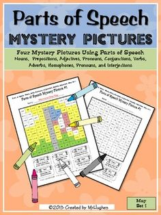 Parts of Speech Mystery Pictures- May Set 1- These pictures cover some fun May holidays! Check them out ($)