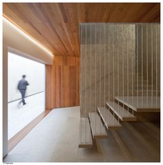 Image 5 of 25 from gallery of Social Housing in Pamplona / Pereda Pérez Arquitectos. Photograph by Pedro Pegenaute Pamplona, Spanish Architecture, Architecture Awards, Interior Architecture, Staircase Handrail, Stair Railing, Railings, Social Housing, Stairways