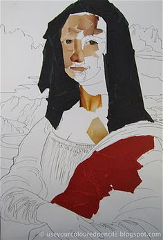 Mona Lisa collages were made by a group of grade 5 & 6 students at the end of last year. each student  had a blank colouring-in page of the Mona Lisa and students then glued layers of torn or cut pieces of coloured paper and magazines to complete their own version of the famous painting.