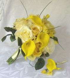 Yellow rose wedding calla lily wedding bouquet real touch calla lilies shades of yellow wedding flowers bridal bouquet set. $75.00, via Etsy.