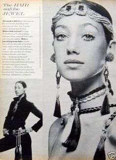 1969 Alexandre for Saint Laurent Hair Jewelry Marisa Berenson Models Vintage Ad | www.jewelleryworld.com