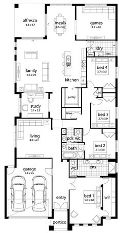 Today I have this large family home that uses the space well. I built this home myself a few years ago, but it is suited to a narrow long block. It was a great size, but the garage wasn't wide enough. My eldest loved the access to the bathroom and… New House Plans, Dream House Plans, House Floor Plans, The Plan, How To Plan, Australian House Plans, Australian Homes, Home Design Floor Plans, Plan Design