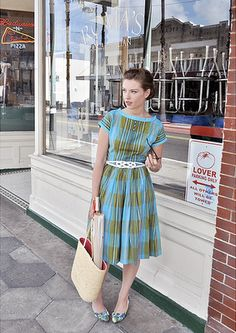 Blue and green vintage dress
