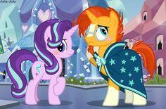 #1118274 - artist:asika-aida, blushing, crystal empire, safe, spoiler:s06e01, spoiler:s06e02, starburst (pairing), starlight glimmer, sunburst, sunburst's glasses, sunburst's robe, the crystalling - Derpibooru - My Little Pony: Friendship is Magic Imageboard