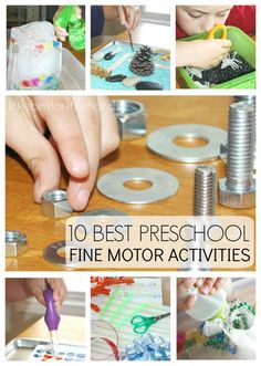 10 Back to School Preschool Fine Motor Activities for building fine motor skills and pre-writing skills. Strengthen hands muscles, increase finger dexterity, encourage hand-eye coordination, and more with playful activities that also include science and sensory play!