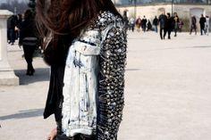 DIstressed, studded jacket