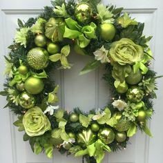 Lighted Christmas wreath, Christmas wreath, Winter Holiday wreath, green lighted christmas wreath, Winter wreath, Christmas door hanger by BsCozyCottageCrafts on Etsy
