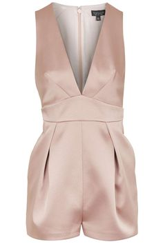 Topshop Satin Plunge Playsuit in Pink as seen on Hailey Baldwin Petite Jumpsuit, Tailored Jumpsuit, Pleated Jumpsuit, Satin Jumpsuit, Look Fashion, Fashion Outfits, Playsuit Romper, Playsuits, Ideias Fashion