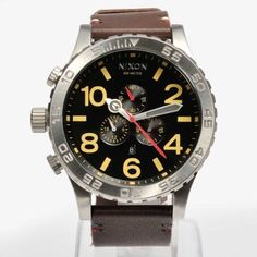 NIXON-A124019-A124-019-Watch-Mens-51-30-CHRONO-Leather-Black-Brown-Authentic