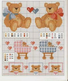 lo spazio di lilla, blog di artigianato, hobby e DIY. Schemi maglia, crochet, cucito creativo, punto croce. Tutorials fotografici e videotutorial. Cross Stitch For Kids, Cross Stitch Borders, Cross Stitch Baby, Cross Stitch Animals, Cross Stitch Charts, Cross Stitching, Cross Stitch Patterns, Baby Embroidery, Hand Embroidery Patterns