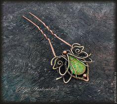 Купить Flores Undines шпилька для волос - латунь, wire wrap, плетение из проволоки, цветок