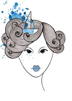 Stylized face with boat hair illustration