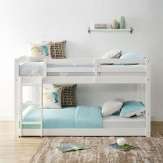 Greyleigh Bellmead Twin Over Twin Bunk Bed Bed Frame Color: White Bunk Bed With Trundle, Full Bunk Beds, Bunk Beds With Stairs, Kids Bunk Beds, Bunkbeds For Small Room, Diy Bunkbeds, White Bunk Beds, Boys Bunk Bed Room Ideas, Shared Rooms