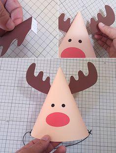 Moldes para hacer bonitos gorritos navideños de renos y santa claus ~ Belleza y Peinados