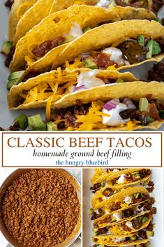 Classic family friendly tacos with easy homemade ground beef taco filling, comes together in about half an hour for a delicious weeknight dinner. #thehungrybluebird #classicbeeftacos #groundbeeftacos #tacotuesday #homemadetacomeat #beeftacofilling #fromscratch #weeknightdinners #easyrecipe #comfortfood Homemade Tortilla Chips, Homemade Enchiladas, Homemade Tacos, Turkey Enchiladas, Beef Taco Seasoning, Ground Sirloin, Taco Fillings, Ground Beef Tacos, Mexican Food Recipes