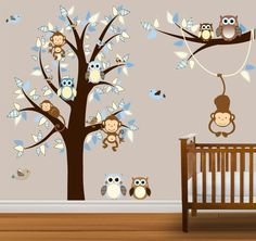 Monkey wall decals for baby room, baby jungle theme wall decals.
