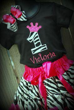 Funky Zebra 1st 2nd 3rd 4th birthday personalized shirt. $25.00, via Etsy.