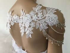 Bridal Dress Shoulder Necklace, Rhinestone Lace Shoulder Necklace, Wedding Shoulder Jewelry, Bridal White Lace Shoulder Bridal Straps, Bridal Lace Rhinestone Shoulder This beautiful hand-crafted lace and artificial diamond-designed shoulder collar is made entirely by hand and