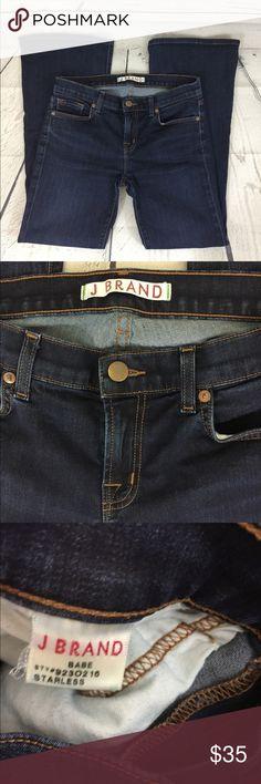 "J Brand Babe Starless Jeans Denim Flare Pants Size 29 J Brand Babe Starless Jeans. Style No: 9230216. Cotton and elastane. Front and back pockets. Measurements approximate: 14.5"" waist, 28.5"" inseam, 10"" leg opening. Medium/dark wash. Flare. J Brand Jeans"