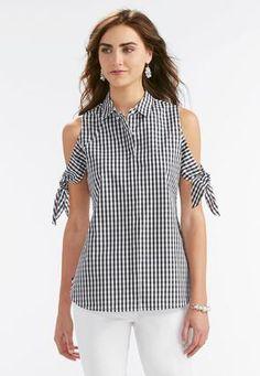 Gingham Tie Cold Shoulder Shirt-Plus