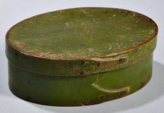 Skinner's - The Personal Collection of Lewis Scranton, Auction 2897M. May 21, 2016. Lot: 182. Estimate: $400-600. Realized: $750. Description: Green-painted Shaker Pantry Box, America, 19th century, oval, with fingered seam, ht. 2 1/4, lg. 6 3/8 in. There is a very small chip on rim of the box that is not visible when the lid is on. Provenance: Ron & Penny Dionne, 1979.