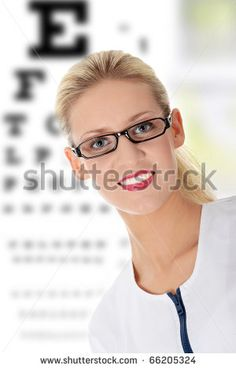 Female ophthalmologist, isolated on white Stock Photos, Female