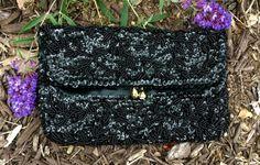 Vintage Black Beaded Clutch - Black Clutch Bag - Beaded Evening Bag - 1950s Clutch by JanetsVintageFinds on Etsy