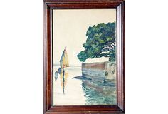 """Lovely watercolor of a sailboat in a bay, painted circa 1935. Signed lower right by the artist, Regnault Sarasin, Swiss (1886 - 1943). Displayed in a mahogany wood frame. Image, 10""""H x 6.5""""W"""