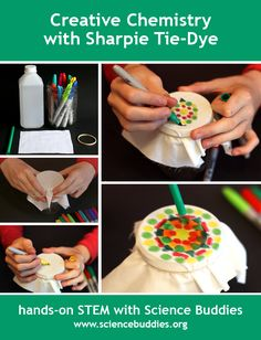 """Colorful Sharpie Tie-Dye Science"": explore the #science behind creative Sharpie Tie-Dye. [Source: Science Buddies, http://www.sciencebuddies.org/blog/2015/12/sharpie-tie-dye.php?from=Pinterest] #STEM #STEAM #scienceproject #creative"