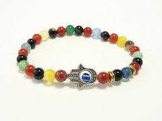 Rainbow colorful beaded Hamsa hand stretchy bracelet made to order yoga bracelet