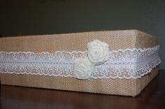 square burlap and lace wedding cake stand