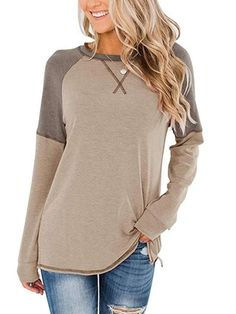Shop a great selection of Bingerlily Women's Casual Long Sleeve Tunic Tops Crew Neck Color Block Blouses. Find new offer and Similar products for Bingerlily Women's Casual Long Sleeve Tunic Tops Crew Neck Color Block Blouses. Trendy Tops, Casual Tops, Casual Wear, Color Blocking Outfits, Long Sleeve Tunic, Loose Tops, Blouse Online, Blouses For Women, Tunic Tops