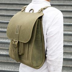 Green handmade leather backpack - mens and womens laptop rucksack 15.6inch