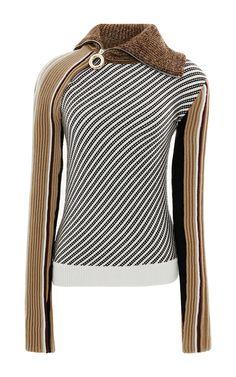 Zip Neck Striped Knit by CARVEN Now Available on Moda Operandi