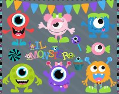 Monster Mash Party Clip Art by Kristi W. Monster Mash, Cute Monsters, Little Monsters, Monster Clipart, Creation Couture, Art Clipart, Halloween, Note Cards, Digital Scrapbooking