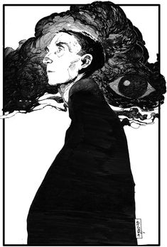 """hypermirage: """"The Hierophant – by Evan Cagle. Ink portrait of Brion Gysin. – Jeanne Aubry hypermirage: """"The Hierophant – by Evan Cagle. Ink portrait of Brion Gysin. hypermirage: """"The Hierophant – by Evan Cagle. Ink portrait of Brion Gysin. Art And Illustration, Ink Illustrations, Portrait Illustration, Portraits Illustrés, Drawing Portraits, Bel Art, The Hierophant, Poses References, Art Graphique"""