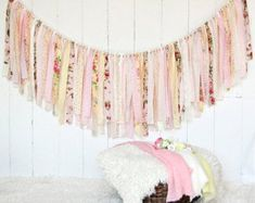 Shabby Chic RagTie Garlands, Knit & Crochet Baby Items by Vintage Shabby Chic, Vintage Lace, Fabric Garland, Garlands, Girls Names Vintage, Pendant Banner, How To Make Banners, Burlap Lace