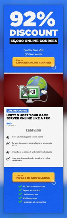 Unity 5 Host Your Game Server Online like a PRO Game Development, Development #onlinecourses #CoursesApp #onlineeducationlearning  step by step video guide with complete Unity project to help you master the process of hosting online game servers Important: all software used are FREE to download and use on PC, LINUX and MAC computers (no need to pay, cheers!) By taking this course, you will learn h...