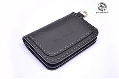 Mini Trucker Wallet Black Biker Wallet Hand Stitched Leather