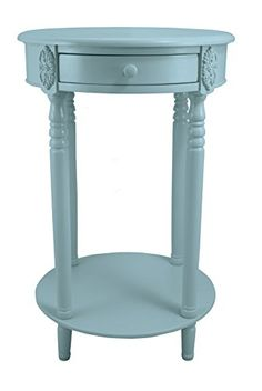 Spa Blue Ava Round Wood Accent Table with Shelf #SimplyAbundant #AccentTable