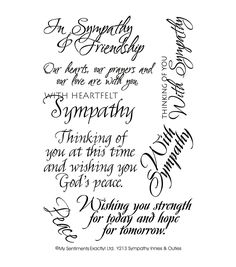 MSE-My Sentiments Exactly Clear Stamps. For all words you want to clearly stamp. Clear rubber stamps are economical, easy to position and store compactly. This package contains Sympathy: eight clear s