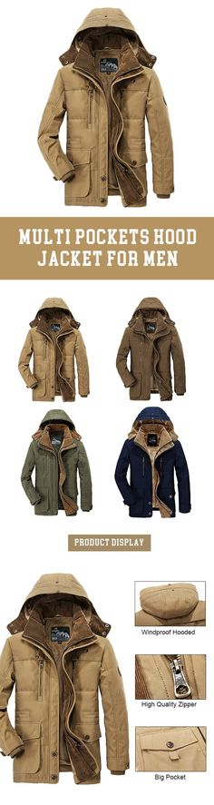 US$75.68 Winter Thicken Warm Multi Pockets Solid Color Detachable Hood Jacket for Men