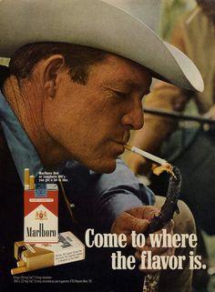 1971 Marlboro Cigarettes Ad Cowboy Marlboro Man Smoking Photo