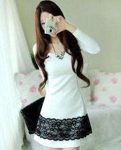 Beautiful Korean Style Slim Dress : Tbdress.com