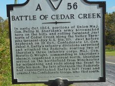 Battle of Cedar Creek sign on the Old Valley Pike.