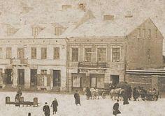 Południowa strona mławskiego rynku w okresie przed II wojną światową.