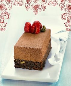 Brownie with chocolate mousse