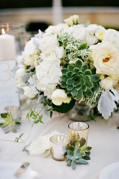 Beautiful ivory and green floral centerpiece